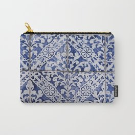 Portuguese Tiles - Azulejo Blue and White Floral Leaf Design Carry-All Pouch