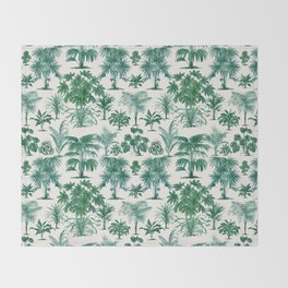 Exotic Tropical Palm Print Throw Blanket