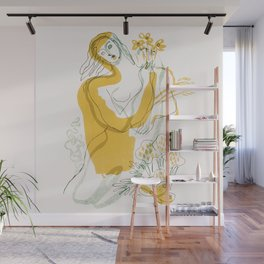 Woman, Flowers & Wheat Wall Mural