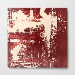 Grunge Paint Flaking Paint Dried Paint Peeling Paint Red Beige Ruby Metal Print