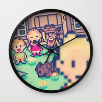 earthbound Wall Clocks featuring Mother 3 Selfie by Dean Bottino