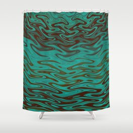 Ripples Fractal in Teals Shower Curtain