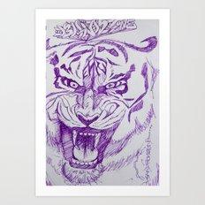 Roaring Purple Tiger Art Print