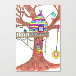 Magical Rainbow Treehouse for Girls Canvas Print