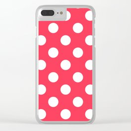 Sizzling Red - fuchsia - White Polka Dots - Pois Pattern Clear iPhone Case