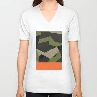 swedish V-neck T-shirts featuring Swedish m90 Camo by Derek Boman