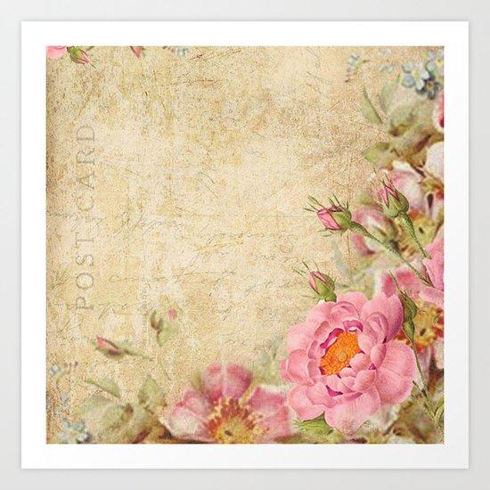 Vintage old love letter roses #10 Art Print