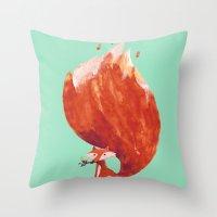 kitsune Throw Pillows featuring Kitsune (Fox of fire) by Picomodi