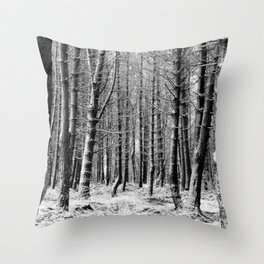 Winter snow woodland forest Throw Pillow