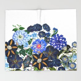 Vintage & Shabby Chic - Blue Flower Summer Meadow Throw Blanket