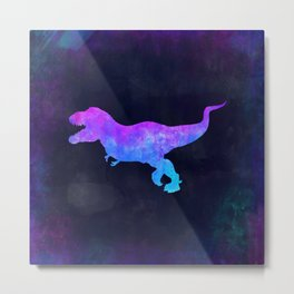T-REX IN SPACE // Dinosaur Graphic Art // Watercolor Canvas Painting // Modern Minimal Cute Metal Print