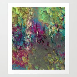 Corroded Purple Green and Blue Abstract Art Print