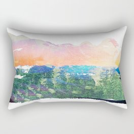 Colorful mountains, abstract landscape collage Rectangular Pillow