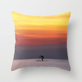 Stand up paddle and calm water in the sunset Throw Pillow