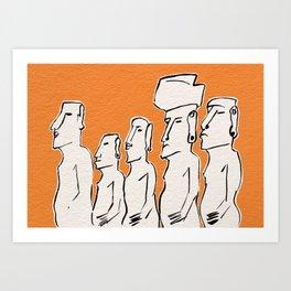 Moai statues in ink Art Print