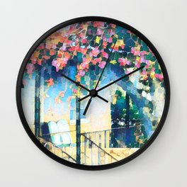 Old Porch of Pink and Teal by CheyAnne Sexton Wall Clock