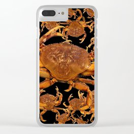DECORATIVE BROWN SHELL FISH BEACH ART ON BLACK Clear iPhone Case
