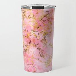 Raspberry Kiss - Pink Gold Marble Travel Mug