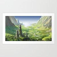 nausicaa Art Prints featuring The Valley of the Wind, Nausicaa by Roberto Nieto