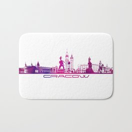 Cracow skyline city purple Bath Mat
