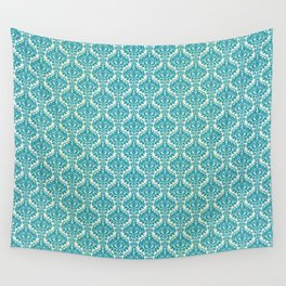 Teal and Ecru Damask Wall Tapestry