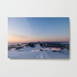 Snowcaps at Midnight Metal Print