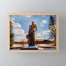 The Spartan in Winter at Michigan State University Framed Mini Art Print