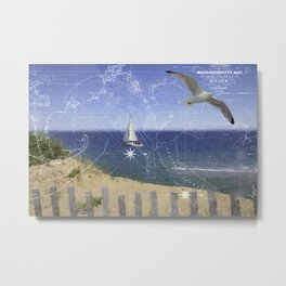 Cape Cod Picture with Vintage Map Metal Print