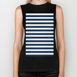 Narrow Horizontal Stripes - White and Oxford Blue Biker Tank