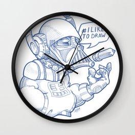 i Like To Draw Wall Clock