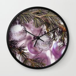 Pink Christmas shimmering baubles twig Wall Clock