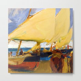 Joaquin Sorolla Beach at Valencia Metal Print