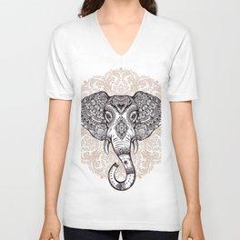 Elephant on Mandala Unisex V-Neck