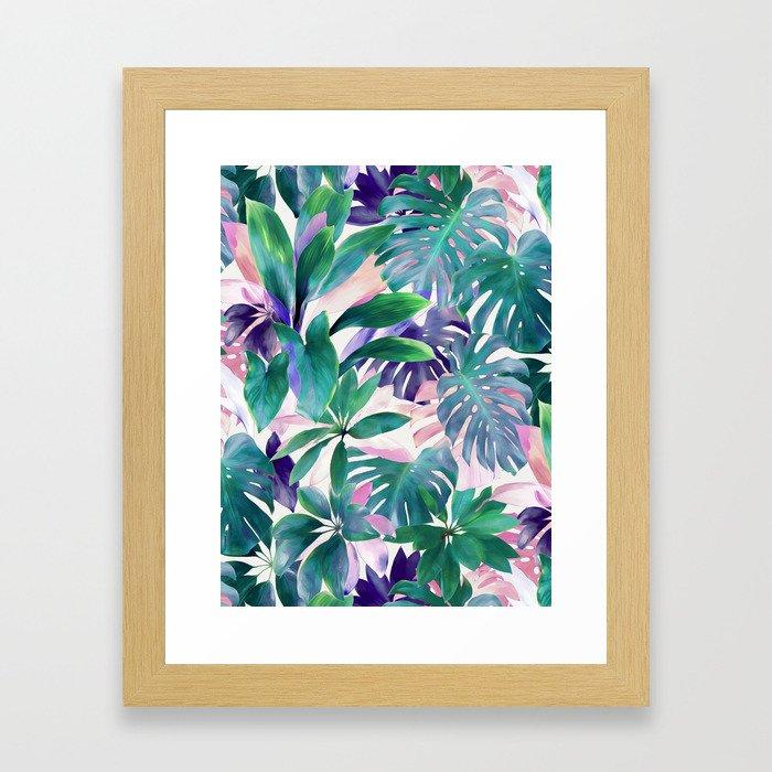 Pastel Summer Tropical Emerald Jungle Framed Art Print