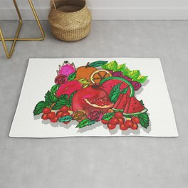 Red Fruits Drawing Rug