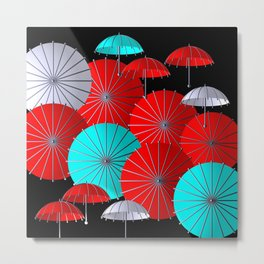 little umbrellas red, white and turquoise Metal Print