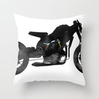 cafe racer Throw Pillows featuring cafe racer bike  by Daniele Faro