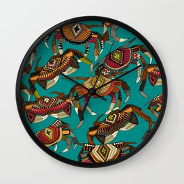crabs teal Wall Clock