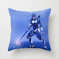 power ranger Throw Pillows featuring Blue Ranger by Isaiah K. Stephens