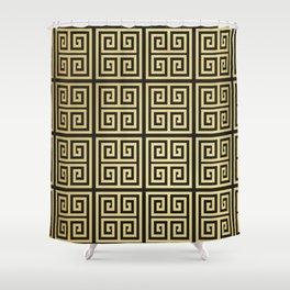 Black and gold high fashion Greek key pattern Shower Curtain