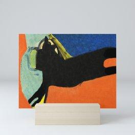 Black Dog and Green Ball Mini Art Print