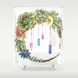 Crystal Crescent Moon With Lovely Succulents Shower Curtain