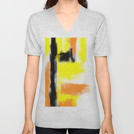 orange yellow and black painting abstract with white background Unisex V-Neck