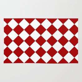 Red and white square pattern Rug