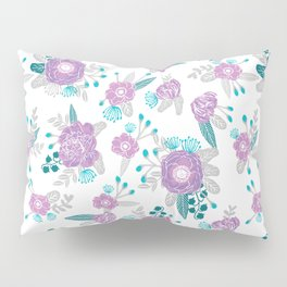 Floral bouquet minimal lilac and turquoise nursery home decor patterned gifts Pillow Sham