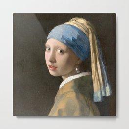 Johannes Vermeer - Girl with the pearl earring (1665) Metal Print