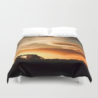 swedish Duvet Covers featuring Swedish sunset by Mark W