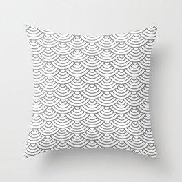 Grey Japanese wave pattern Throw Pillow