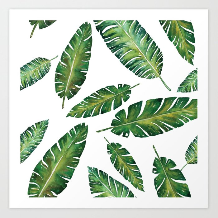 decorative watercolor tropical leaves pattern art print by ncherna