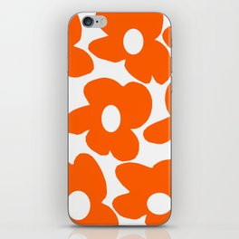 Orange Retro Flowers White Background #decor #society6 #buyart iPhone Skin